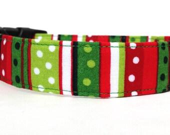 Christmas Dog Collar / Polka Dot Dog Collar / Striped Dog Collar / Holiday Dog Collar / Red Green Dog Collar / Christmas Collar