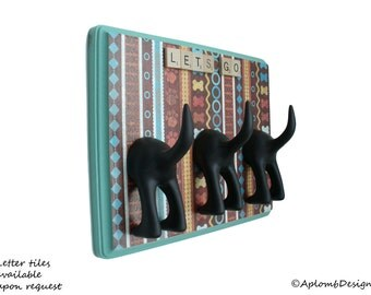 DogTail Leash Holder - Triple Paws, Bones and Dogs OH MY - Personalize It Optional Letter Tiles