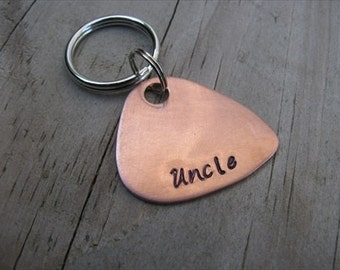 """Hand-Stamped Copper Guitar Pick Keychain, Gift for Uncle - """"Uncle""""- Hand-Stamped Keychain"""