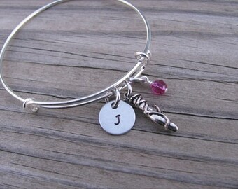 Dancer's Bangle Bracelet- Adjustable Bangle Bracelet with Hand-Stamped Initial, Ballet Shoe Charm, and accent bead of your choice