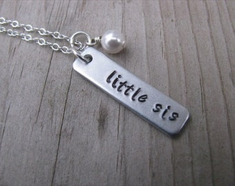 """Little Sister Necklace-brushed silver rectangle with """"little sis"""" and an accent bead of choice- Personalized Gift"""