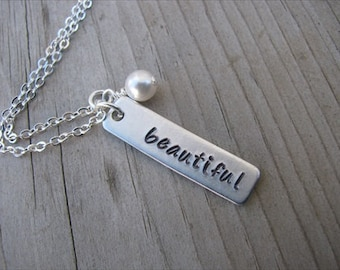 "Inspirational Necklace-brushed silver rectangle with ""beautiful"" and an accent bead of choice- Personalized Gift"
