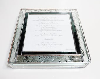 Elegant Stained Glass Wedding Invitation Keepsake Box Bride Groom Picture Engagement Custom Made-to-Order One-of-a-Kind Unique Gift