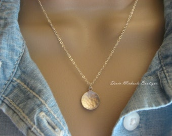 Dainty Hammered Disk Necklace, Silver Layering Necklace