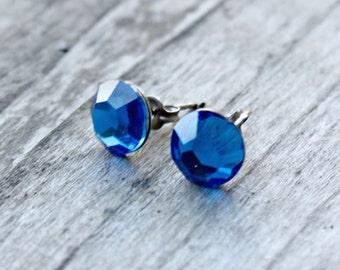 Titanium Earrings, Capri Blue Swarovski Crystal, Hypoallergenic