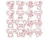 KOALA 2 REDWORK - Machine Embroidery - Instant Digital Download