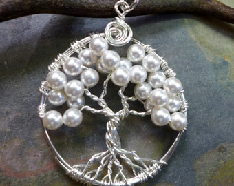 Sterling Silver Petite-Mini-Small White Pearl Tree of Life Pendant, Bridesmaid Tree of life Necklace-June Birthstone, Bridal Necklace