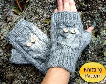 Owl Knit Fingerless Mittens - PDF Pattern - Owl Cable Knit Fingerless Gloves PDF Pattern Instant download
