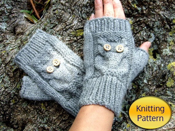Owl Mittens Knitting Pattern : Owl Knit Fingerless Mittens PDF Pattern Owl Cable Knit