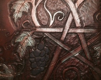 Pentagram in Grapevines Hand Tooled Leather iPad Case
