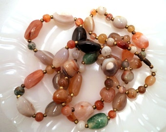 Vintage Banded Agate Quartz and Brass Bead Necklace 36 Inches