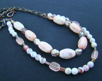 Light and Dark, Pink, White and Dark Copper Multistrand Statement Necklace, Artisan Glass and Semiprecious Stone Necklace - BJ0016