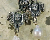 VALENTINE Silver REPOUSSE  Goddess Cupid ~ Hand Carved Silver Heart Angel and Cultured Baroque Pearl Earrings