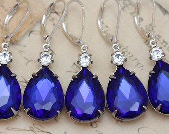 Sapphire Blue Bridesmaid Earrings Set of 3 4 5 6 7 8 9 10 Pairs Crystal Pear Teardrop Silver Bridal Party Gift Also Avail As Clip Ons