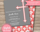Printable Cross Baptism Invitation, Cross Baptism Invite, Baptism Invitation, Baptism Invite - Trendy Damask Cross in Coral, Gray & White