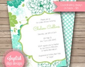 Floral Baby Shower Invitation, Floral Baby Shower Invite, Printable Baby Shower Invitation - Spearmint Garden in Aqua, Green, Teal