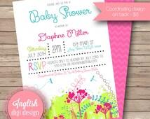 Poster Style Baby Shower Invitation, Garden Baby Shower Invite, Printable Baby Shower Invitation - Grunge Garden in Fuchsia, Green, Aqua