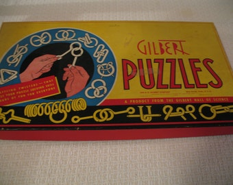 1940's Gilbert Game Puzzle Boxed Set, Wire Dexterity Puzzle
