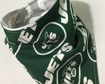 Jets Fan - Bandana Style Bib - Reversible, Baby/Toddler Bib, NFL football team shop, new york jets, bibdana, chevron