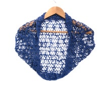 Cap Sleeve Cotton Bolero , Blue hand knit lace bolero , wedding party cardigan / wrap , hand knitted , open lace design