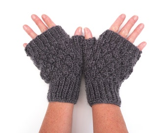 Wool fingerless gloves , handknit gloves, warm winter accessory , purple handwarmers , custom colours , made to order, gift for her