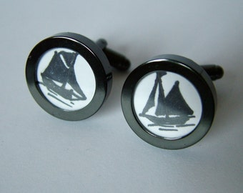 Hand Drawn Ship Cuff Links in Black.