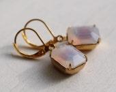 Pink Opal Earrings ... Milk Opal Earrings in Palest Pink Glow