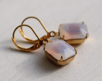 Pink Opal Earrings ... Milk Opal Earrings in Palest Pink Glow