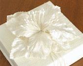 Small Gift Box. Ivory / Winter White Linen Fabric. Velvet Millinery Flower. Shabby Chic.