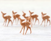 Miniature Plastic Deer - 6 Tiny German Deer, Craft Figurines