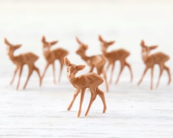 Miniature Plastic Deer - 6 Tiny German Deer, Craft Figurines
