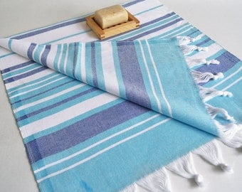 NEW Design SET 2 Piece Head and Hand Towel Peshkir - Blue, Navy blue and white striped