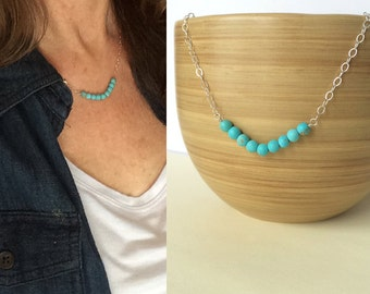 Turquoise Necklace, Tiny Turquoise Necklace, Bead Bar Necklace