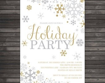 Winter Holiday Party Invitation - Gold Silver Winter Wonderland Invitation Printable - Snowflake Party Invite - Christmas Party Invitations