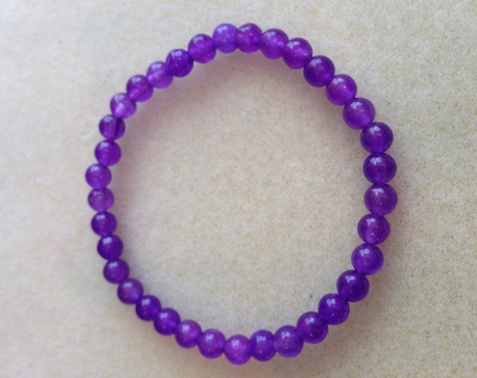 Purple Aventurine 6mm Round Stretch Bead Bracelet for Luck, Wealth, Adrenal Fatigue and Migraines