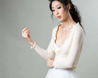 Ivory Bridal Wrap Lambswool Sweater