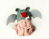Newborn Crochet Bat Hat Photo Prop