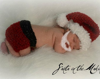 Mr. Santa Christmas Hat and Diaper Cover Photo Prop