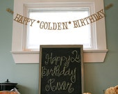 Antique Gold HAPPY GOLDEN BIRTHDAY Banner. Happy Birthday.  Antique Gold Shimmer.  5280 Bliss.