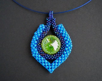 12th Woman Seattle Seahawks colors pendant necklace - swarovski crystal rivoli and cubic right angle weave
