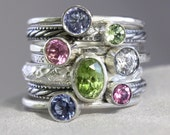 7 Gemstones, Oval and round gems, Birthstone Stacking Ring Set, Family & Mother's Rings, Gemstones, Sterling Silver, custom made