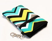 Custom fabric cell phone holder, iPhone 6 6s Plus, iPhone 7 plus, 5 5s 5c 4s 4 smartphone, wallet, case, purse, sleeve, pouch-Chevron Lagoon