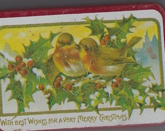 Vintage With Best Wishes for a Very Merry Christmas Tin, 1970s