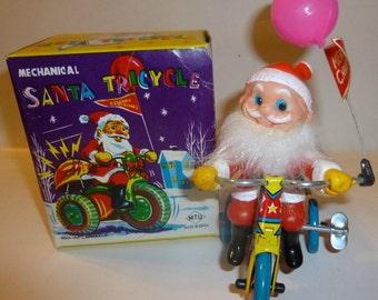 Santa Tricycle Vintage Wind Up Tin Toy, 1970s