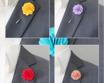 6 Fabrick wedding boutonnieres, mens Lapel pin, rustic wedding boutonniere, 2 inch carnation flower