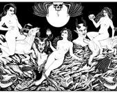 "Sabbath Night Witches 24 x 36"" Screenprint"