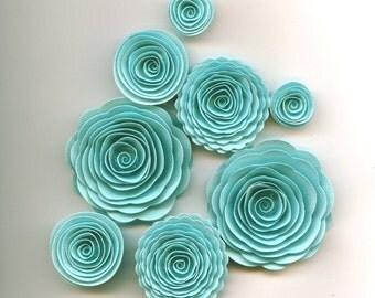 Sky Blue Handmade Spiral Paper Flowers