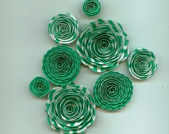 Chevron Green Handmade Rose Spiral Paper Flowers Use on Projects, Decor, Crafts