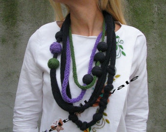 black, green, purple...Hand knit necklace