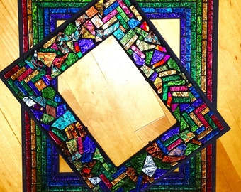"""CUSTOM MOSAIC Picture Frames in Multicolored Van Gogh Stained Glass - 4""""x6"""", 5""""x7"""" or 8""""x10"""" -  Rainbow Pattern or Random Pattern - OOAK"""